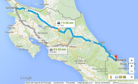 Carte costa rica, map google, définir son itinéraire, meilleur itinéraire, comment visiter le costa rica,