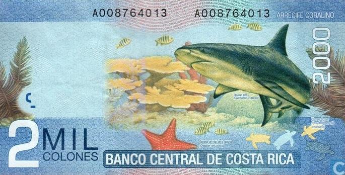 argent, monnaie locale, costa rica, colons, billets, 2000,