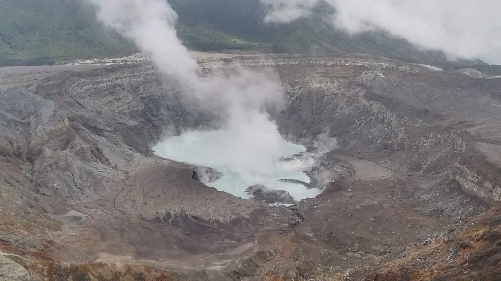 Cratère Fumeroles Activité Volcanique Volcan Poas Lac Acide Sulfurique