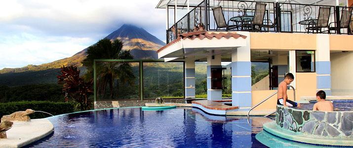 Hotel Linda Vista Norte Arenal La Fortuna El Castillo Piscine Terrasse Jacuzzi Volcan