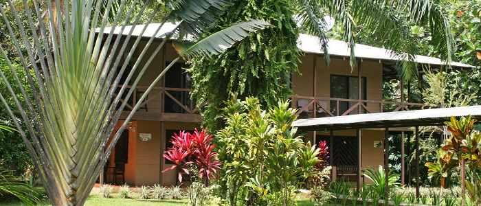 Hotel Manatus Tortuguero Bungalow jardin bois