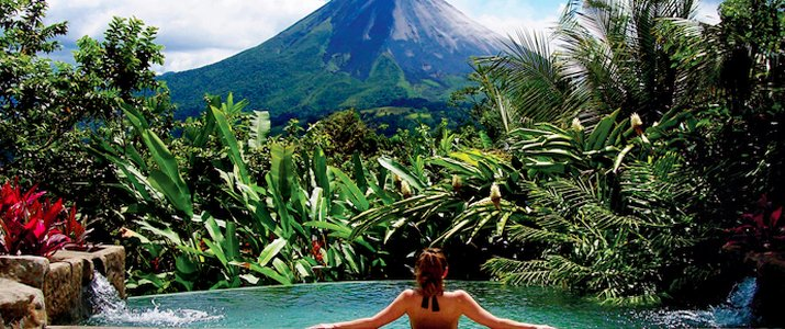 The Springs Resort & Spa Arenal La Fortuna Volcan Hotel Bassin débordement avec vue