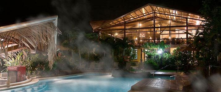 Arenal Spring Resort and Spa La Fortuna Volcan Hotel Cabinas Jardin Tropical Piscine Restaurant Nuit Eau Thermales