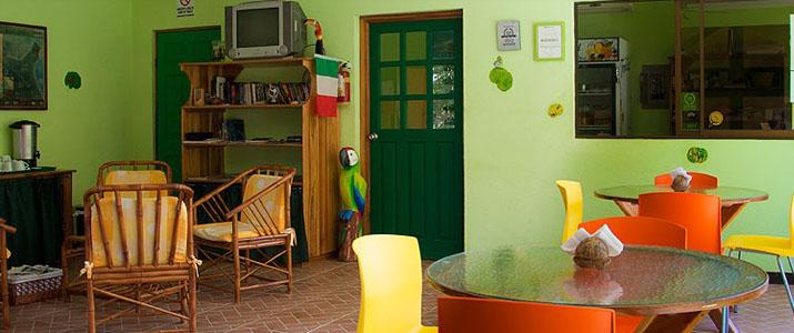 Las Casa de Las flores Caraïbes Sud Cahuita salle commune espace petit déjeuner télévision cosy