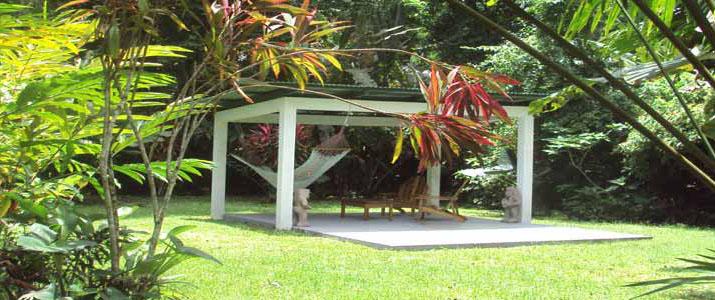 El colibri lodge Caraïbes sud Manzanillo coin détente dans la forêt hamac terrasse abritée