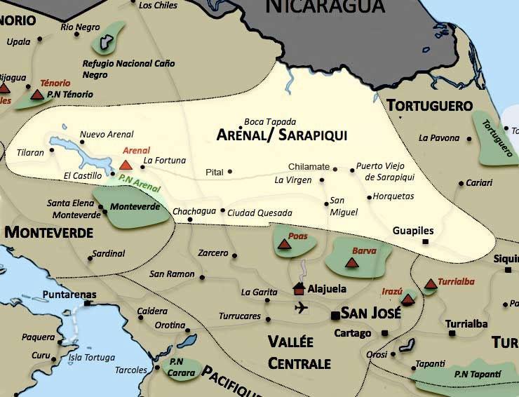 Carte de la region Arenal Sarapiqui au Costa Rica