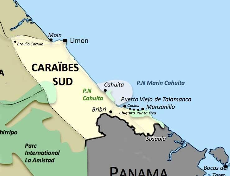 Carte de la region Caraïbes Sud au Costa Rica
