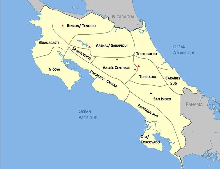 Carte Regions Costa Rica