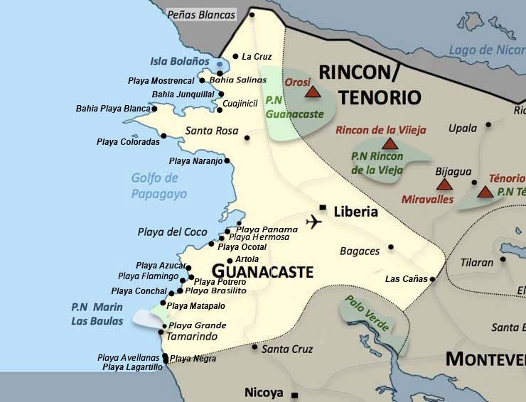 Carte de la region Guanacaste au Costa Rica