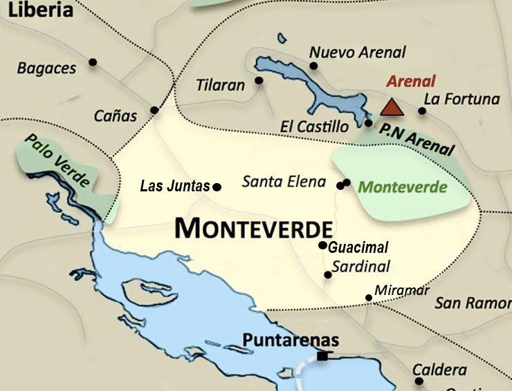 Carte de la region Monteverde au Costa Rica