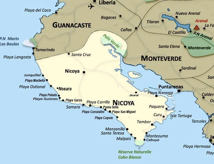 Carte de la region Nicoya au Costa Rica