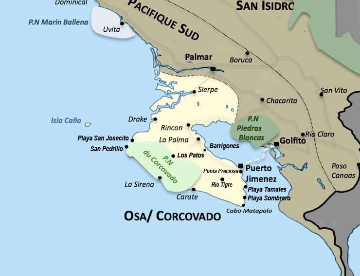 Carte de la region Osa Corcovado au Costa Rica