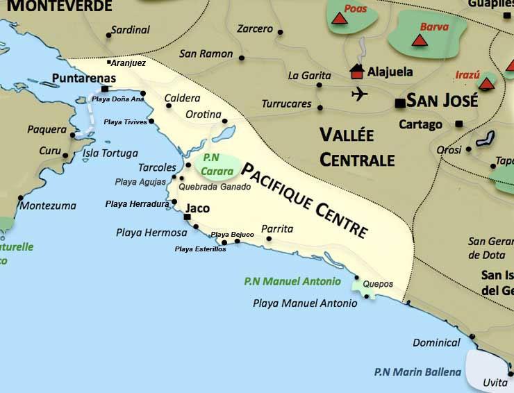 Carte de la region Pacifique Centre au Costa Rica