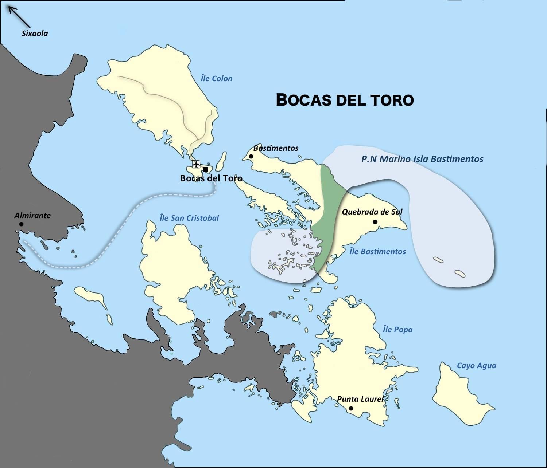 Carte de la region Panama au Costa Rica