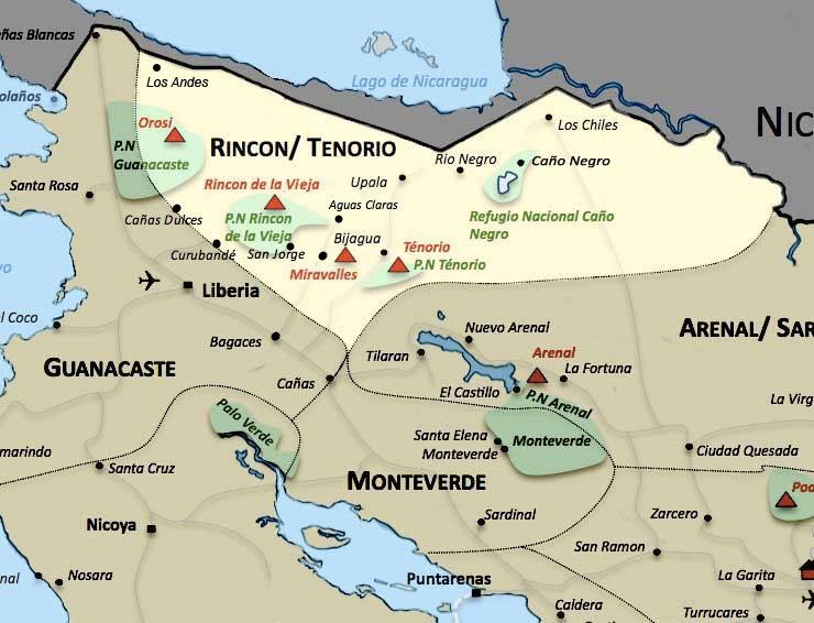 Carte de la region Rincon Tenorio au Costa Rica