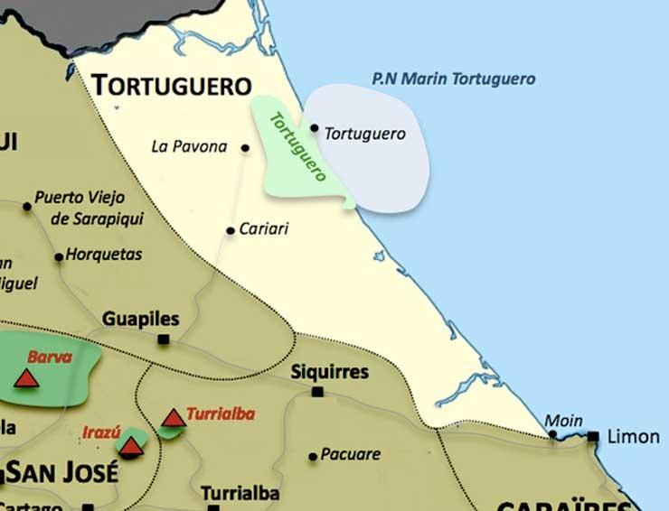 Carte de la region Tortuguero au Costa Rica