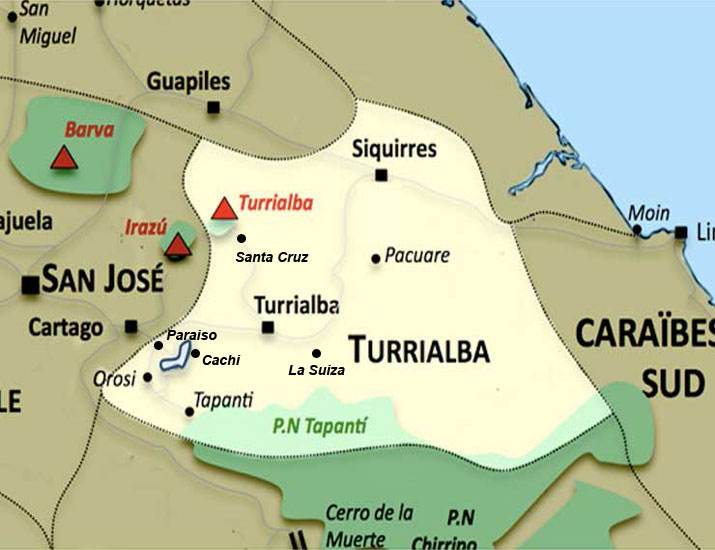 Carte de la region Turrialba au Costa Rica