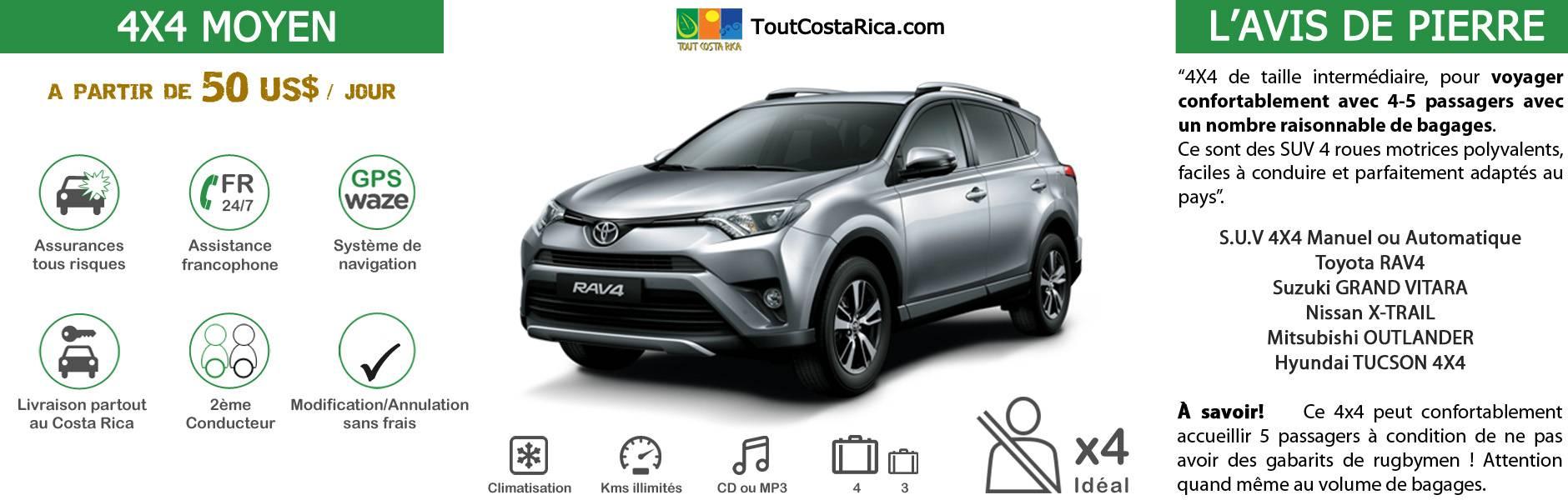 Location voiture 4x4 CLASSE 4 Costa Rica Toyota RAV-4 / Kia Sportage / Suzuki Grand Vitara / Nissan X-trail / Ssangyong Korando / Renault Koleos 4 ADULTES A PARTIR DE 320 US$ / SEMAINE (*) MALIN: TOUT INCLUS! GPS OFFERT ! 2nD CONDUCTEUR KM ILLIMITES ASSURANCES TOUS RISQUES RESA SANS CARTE BANCAIRE ASSISTANCE 24/24 ETC (SIEGES BEBES, rehausseurs, surf…)