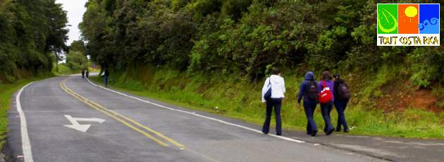 Senza marciapiedi i ticos camminano sul lato della strada!